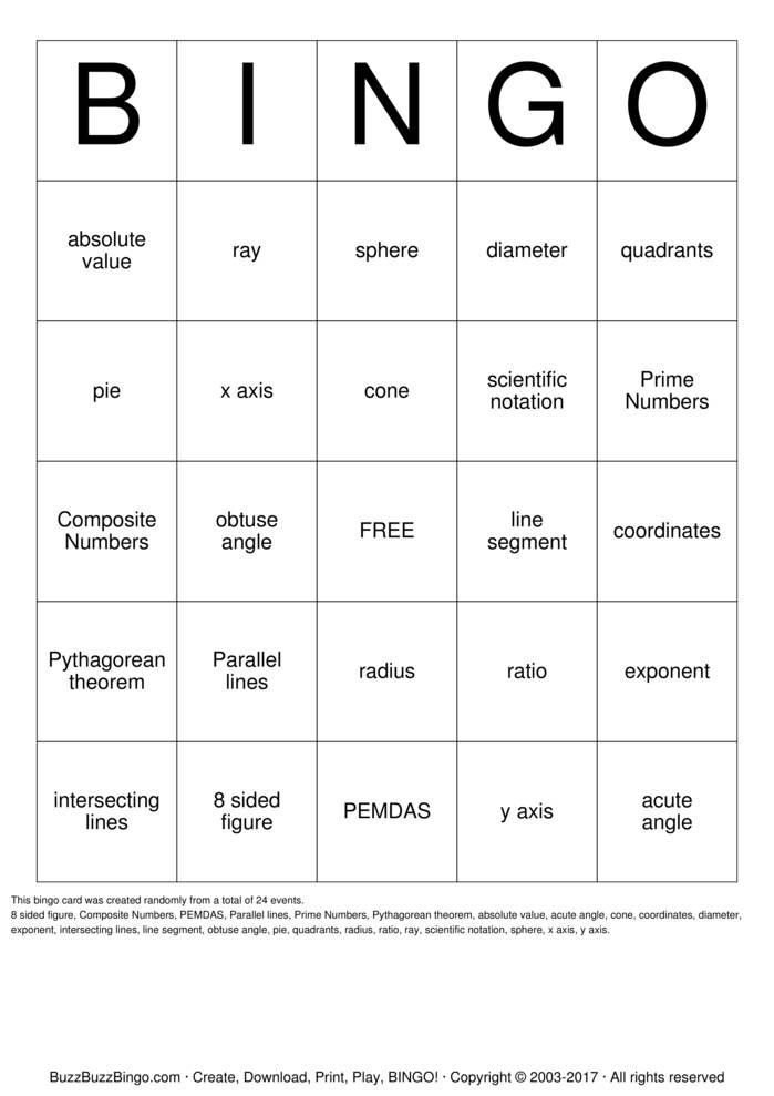 8th Grade Math Bingo Cards to Download, Print and Customize!