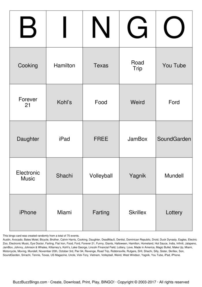 Download Free Johnny and Shachi Bingo Cards