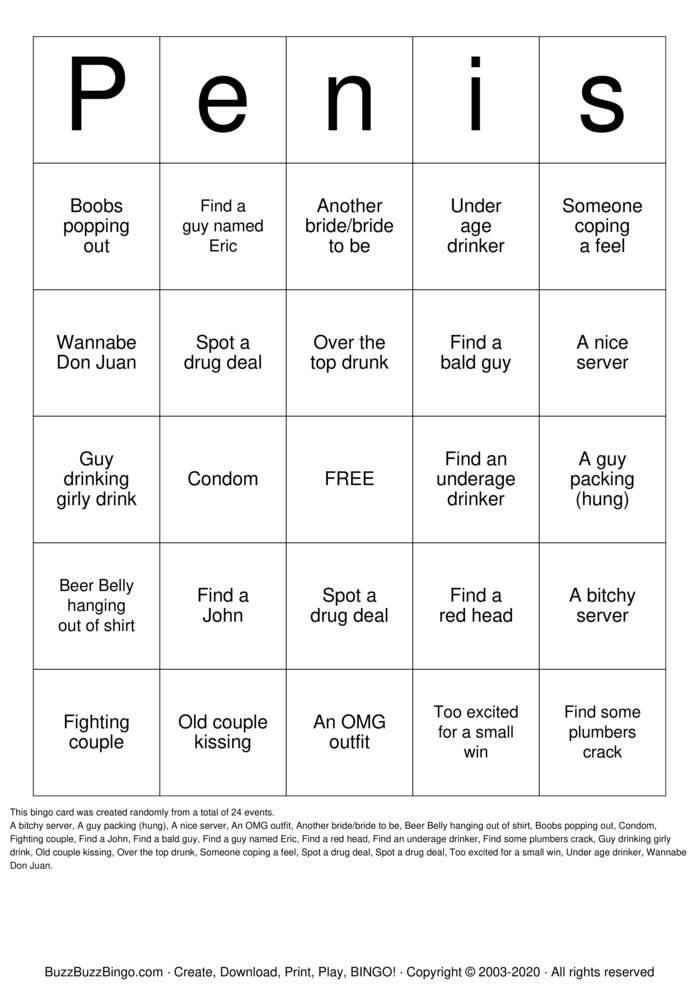 Download Free Penis picture bingo cards Bingo Cards