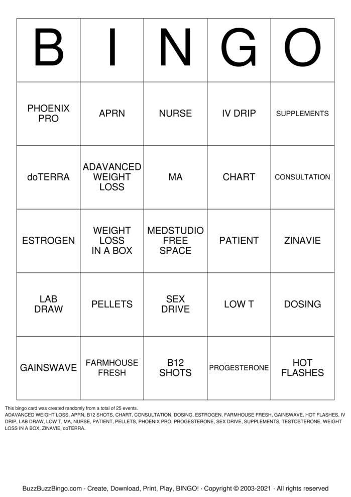 Download Free nursing process Bingo Cards