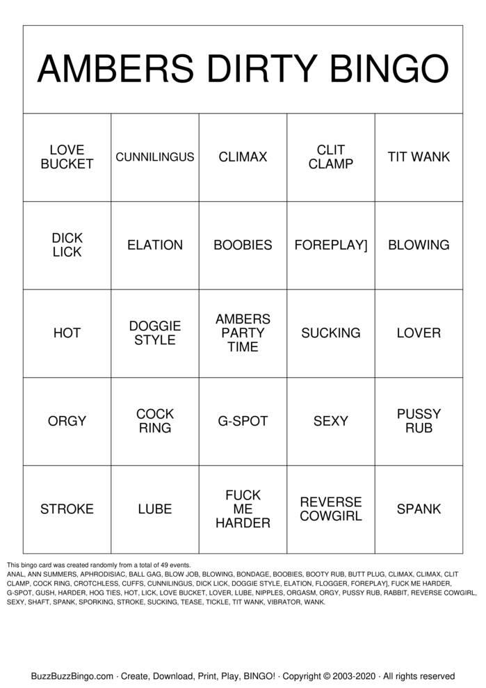 Download Free Ambers Party Time Dirty Bingo Bingo Cards