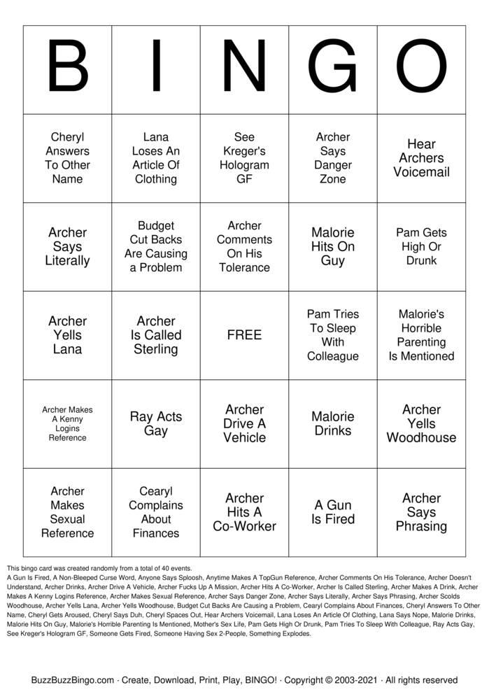 Download Free Archer Bingo Cards