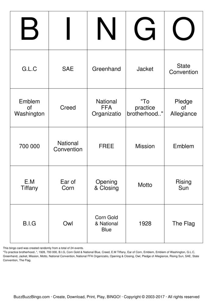 Download Free FFA Bingo Bingo Cards