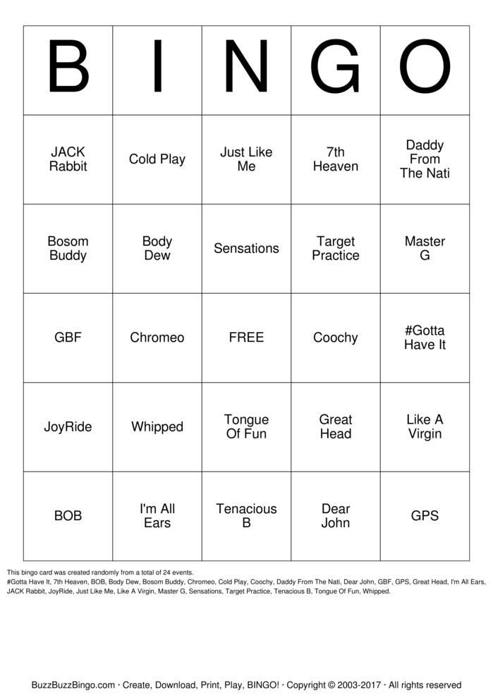 Download Free PURE ROMANCE Bingo Cards
