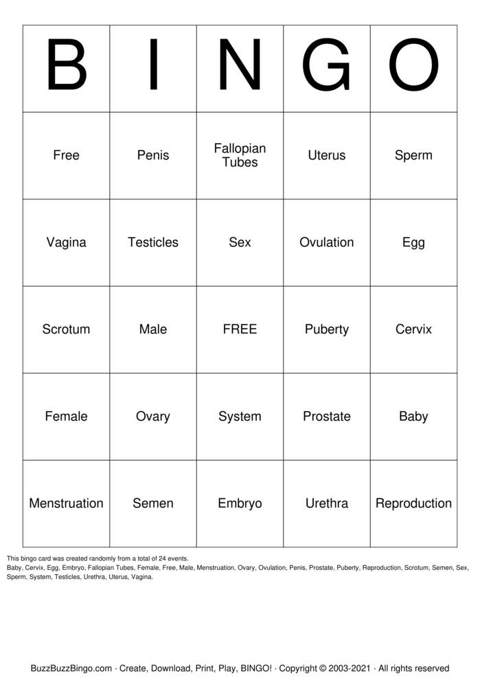 Download Free Reproductive System Bingo Cards