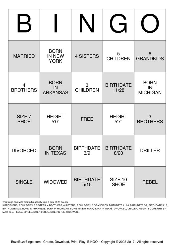 SRPING TEA Bingo Card