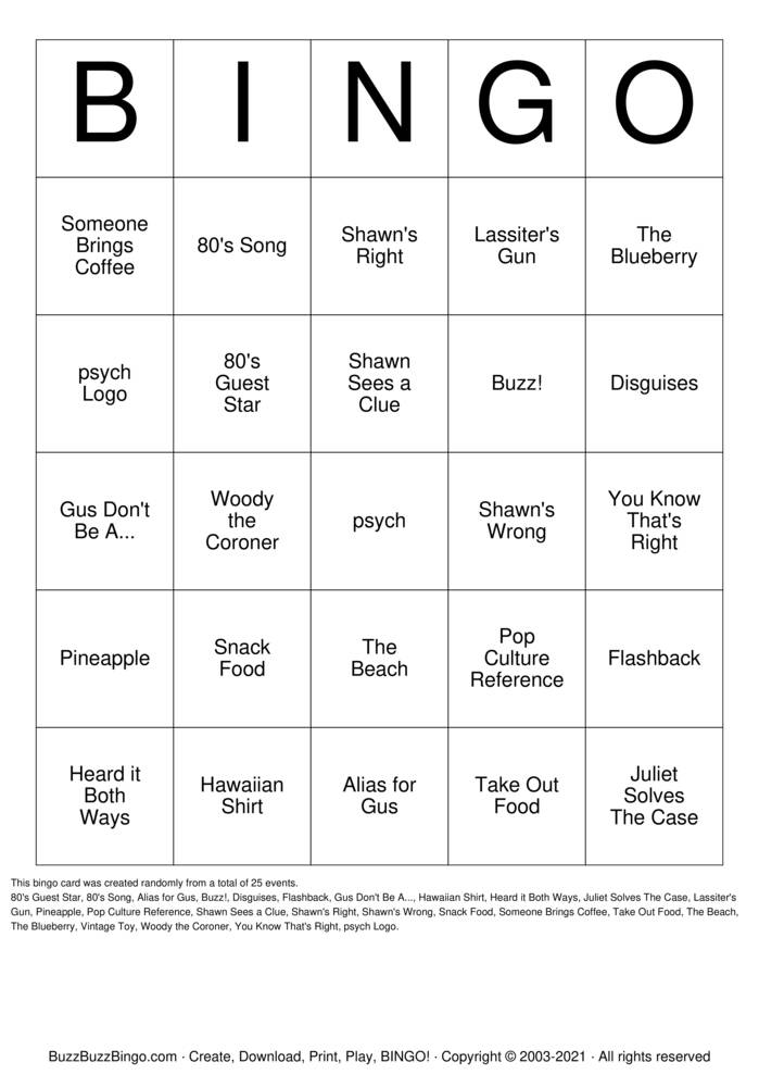 Download Free psych tuesday the 17th Bingo Cards