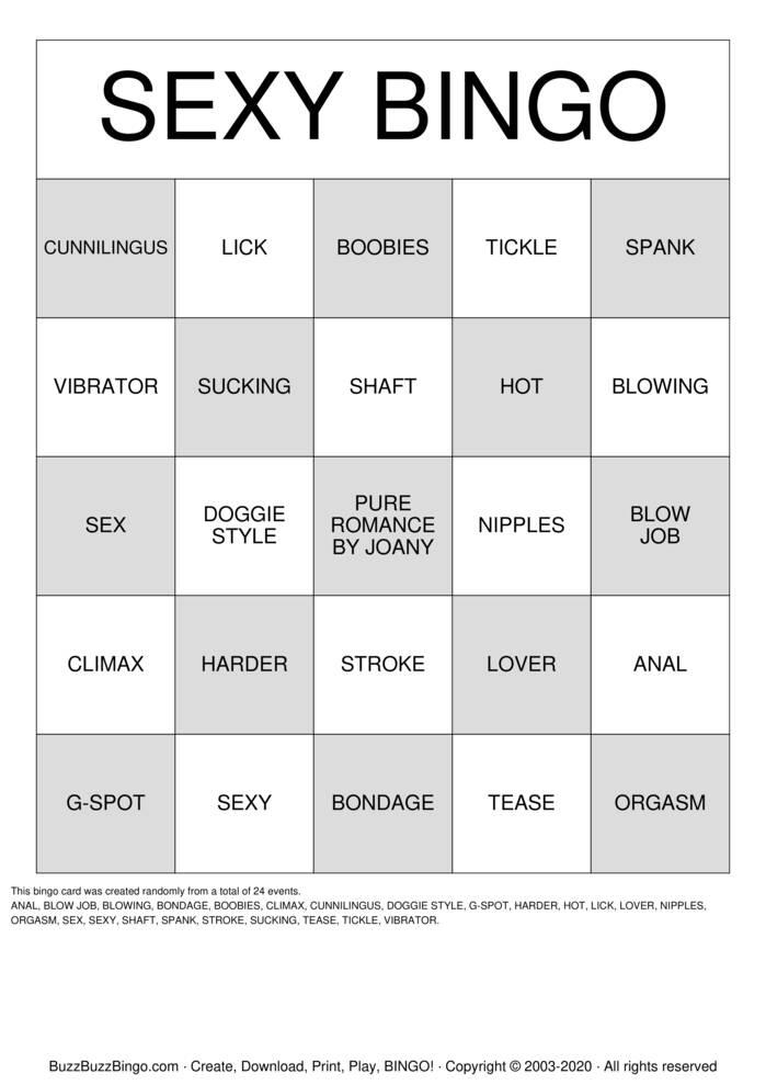 Download Free sex position bingo Bingo Cards