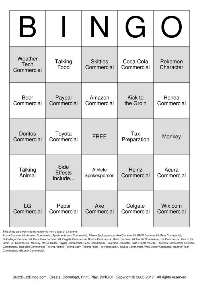 Download Free 2016 Superbowl Commercials Bingo Cards