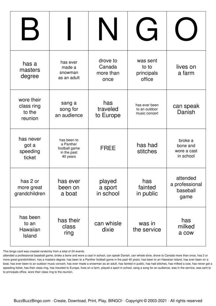 Download Free 40th Class Reunion Bingo Cards