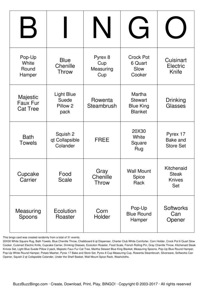 Download Free BRIDE Bingo Cards