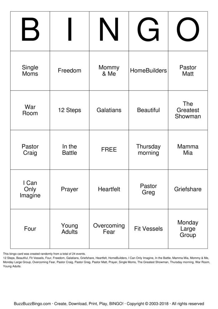 Download Free Beautiful Fall 2018 Bingo Cards