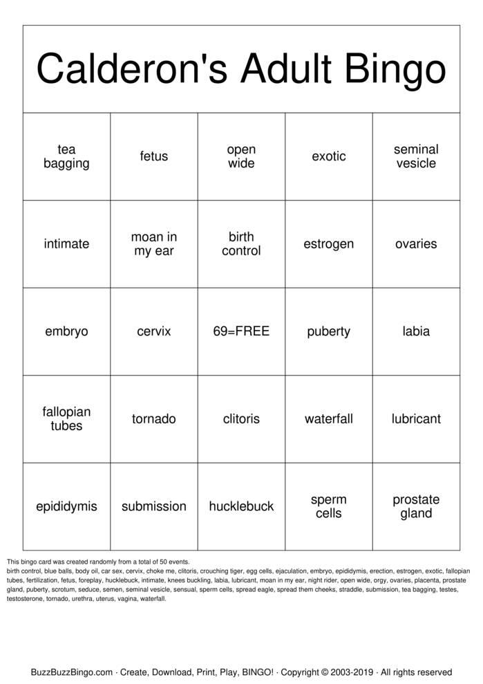 Download Free Calderon's Adult  Bingo Cards