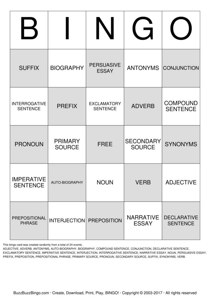 Conjuctions Bingo Cards to Download, Print and Customize!