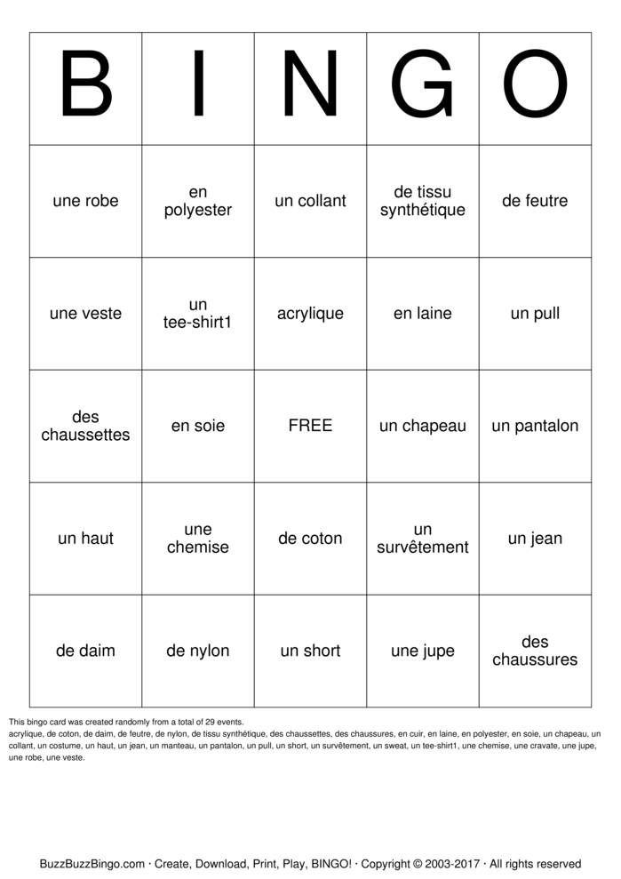 French Clothing Bingo Card