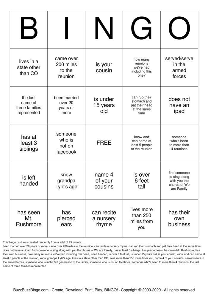 Hilferty Family Reunion  Bingo Card
