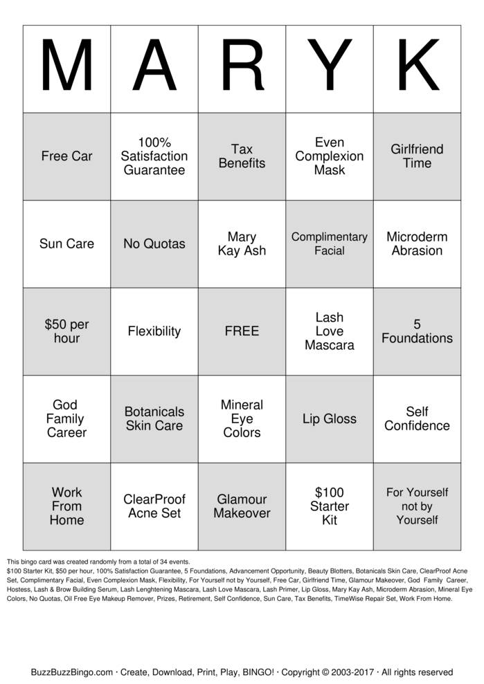 Download Free MARYK Bingo Cards
