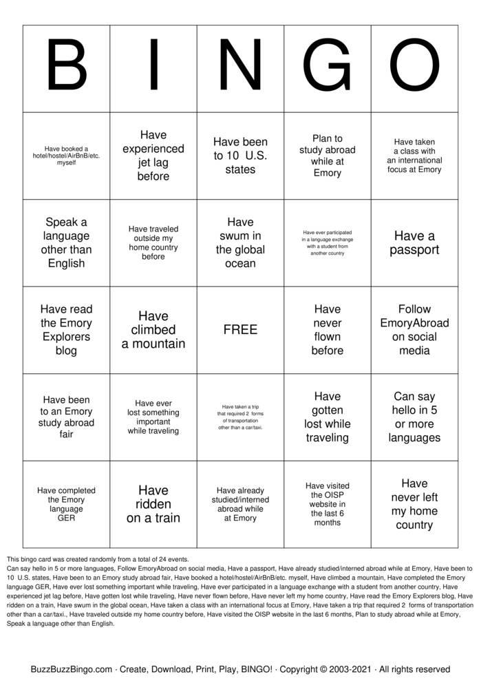Download Free OISP Bingo Bingo Cards