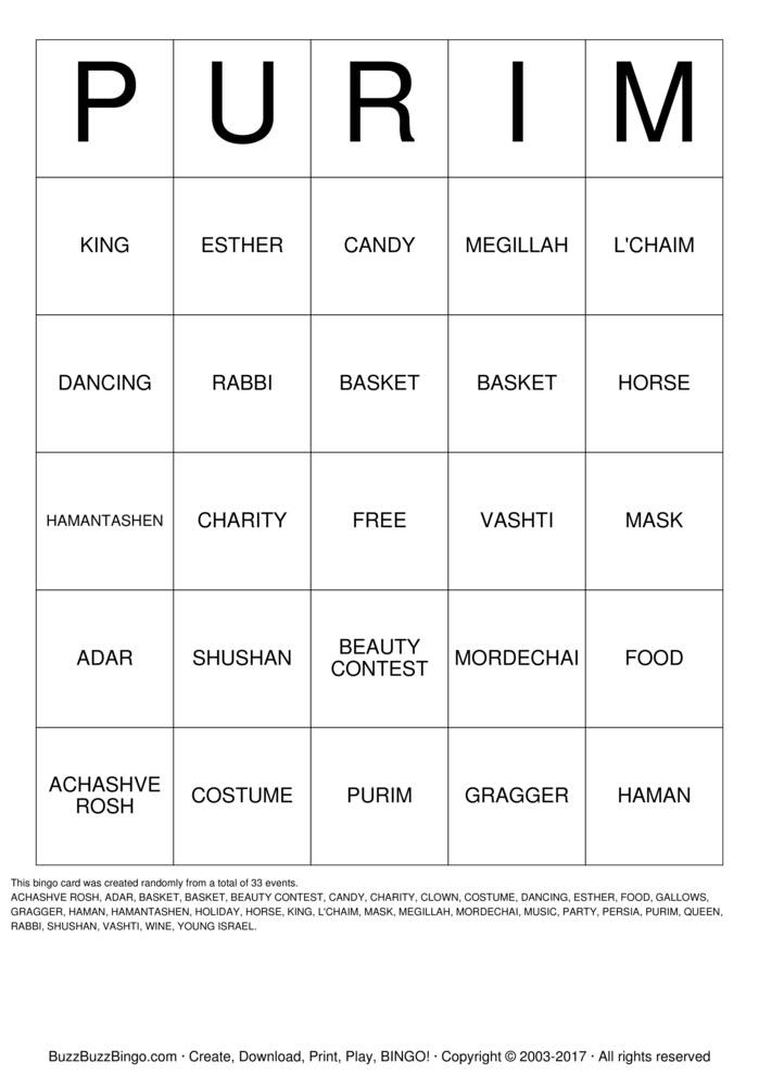 Download PURIM Bingo Cards