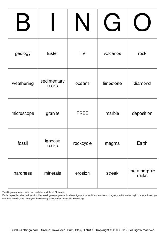 Download Rocks Bingo Cards