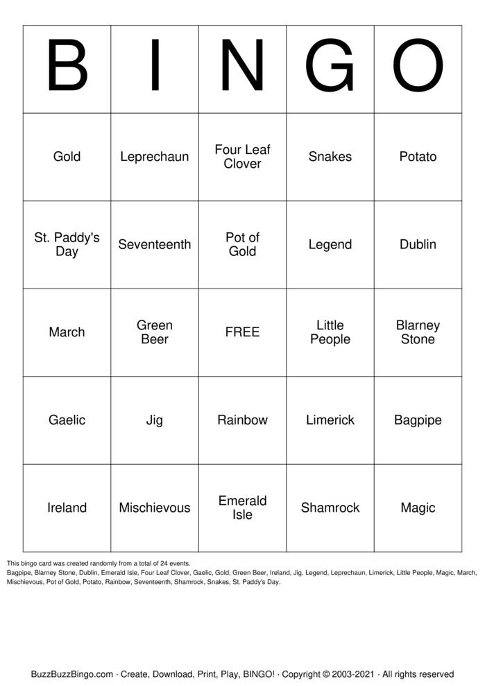 Download St. Patricks Day Bingo Cards