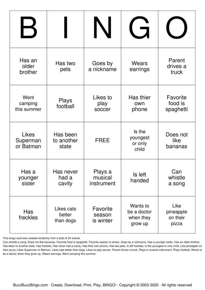 V.B.S  Bingo Card