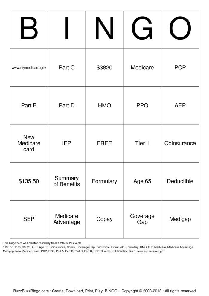 Download Free medicare Bingo Cards