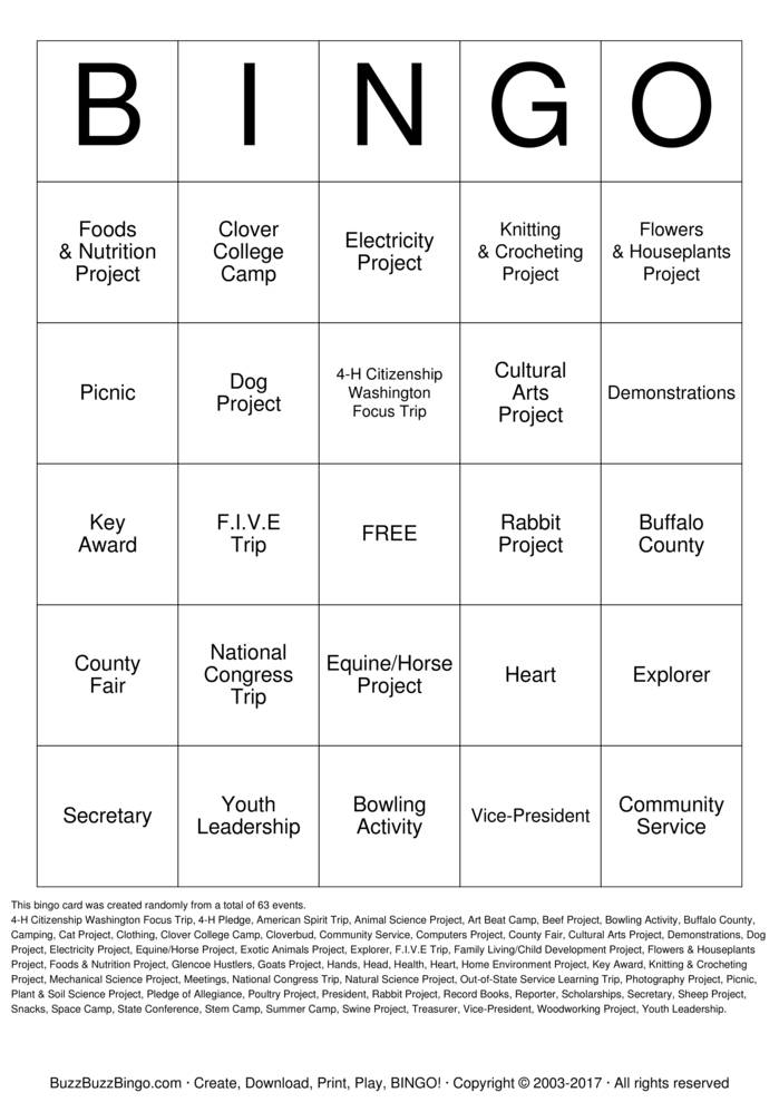 Download 4H Bingo Bingo Cards