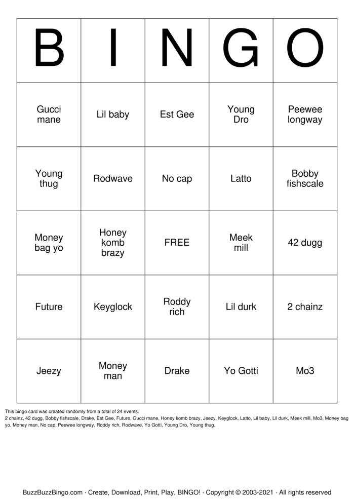 Download Free Ante up Bingo Cards