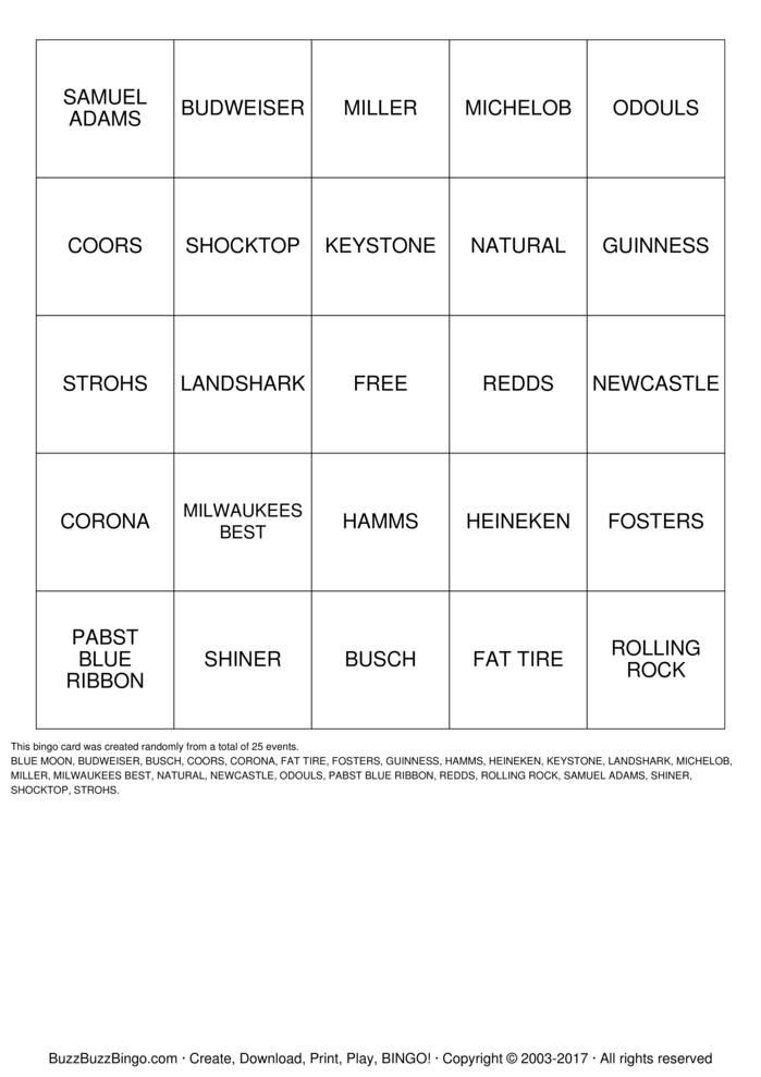 BEERO Bingo Card