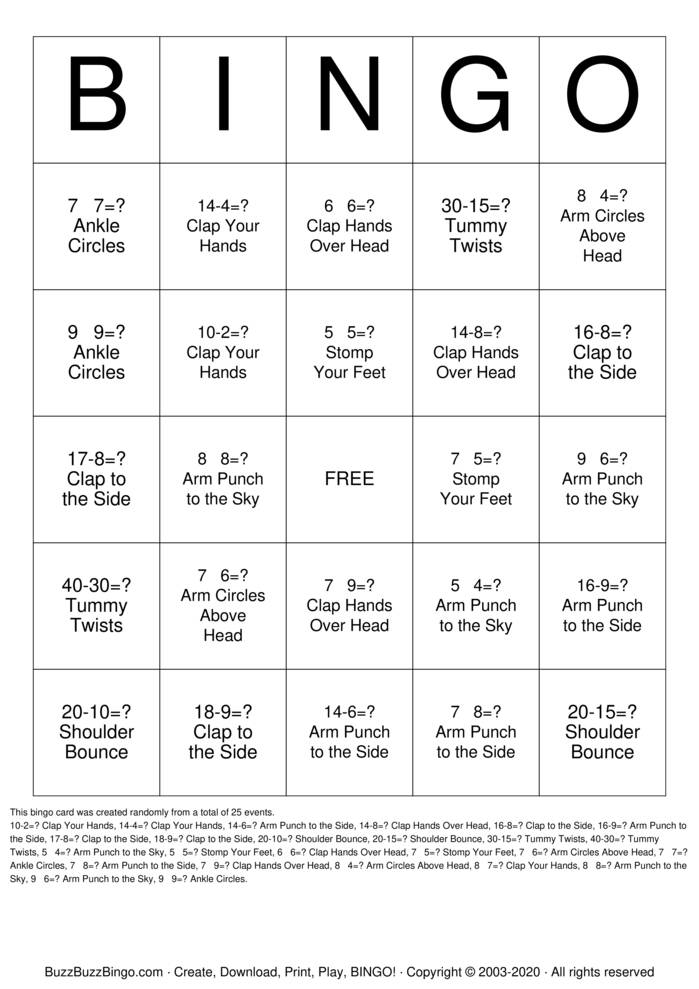Body Bingo Bingo Card