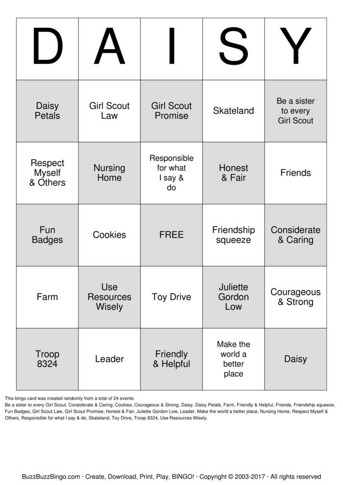 Download Free DAISY Bingo Cards