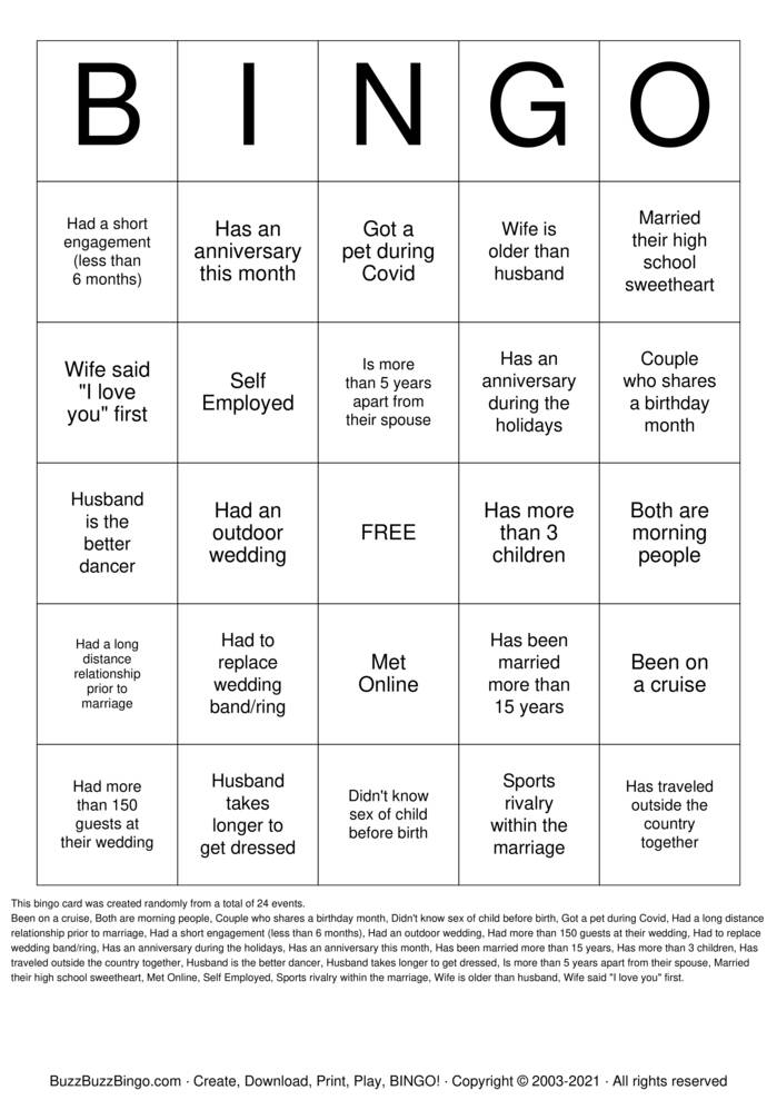 Download Free Find Someone Who COUPLE EDITION Bingo Cards