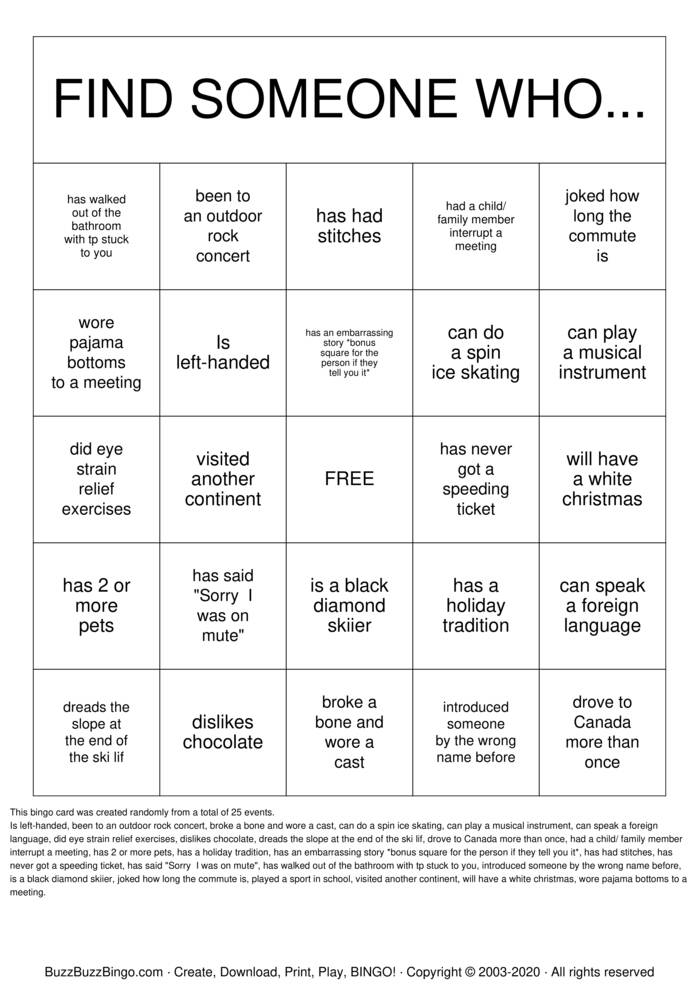 Download Free Getting to Know You (Virtual Holiday) Bingo Cards