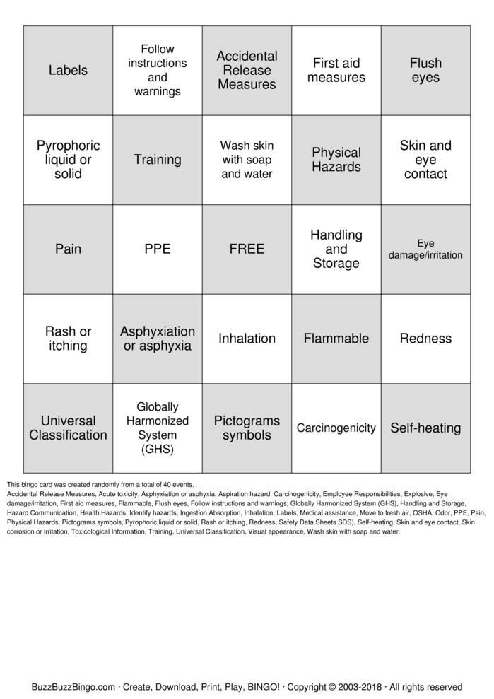 Download Free HazCom - GHS Bingo Cards