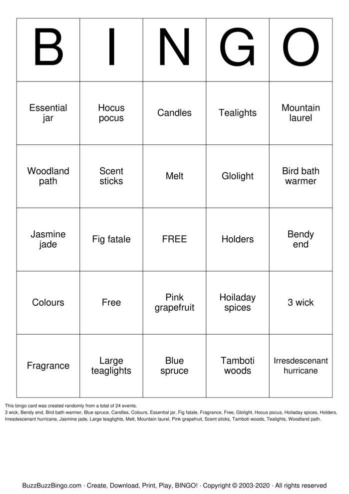 Download Free PartyLite Bingo Cards