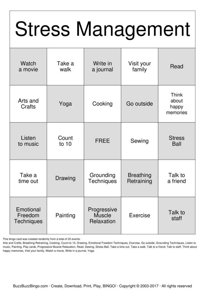 Download Free Stress Management Bingo Cards