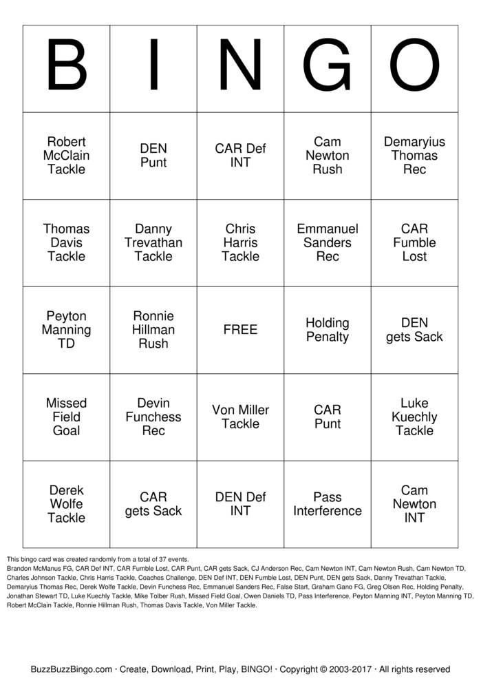 Download Free Superbowl Bingo Cards