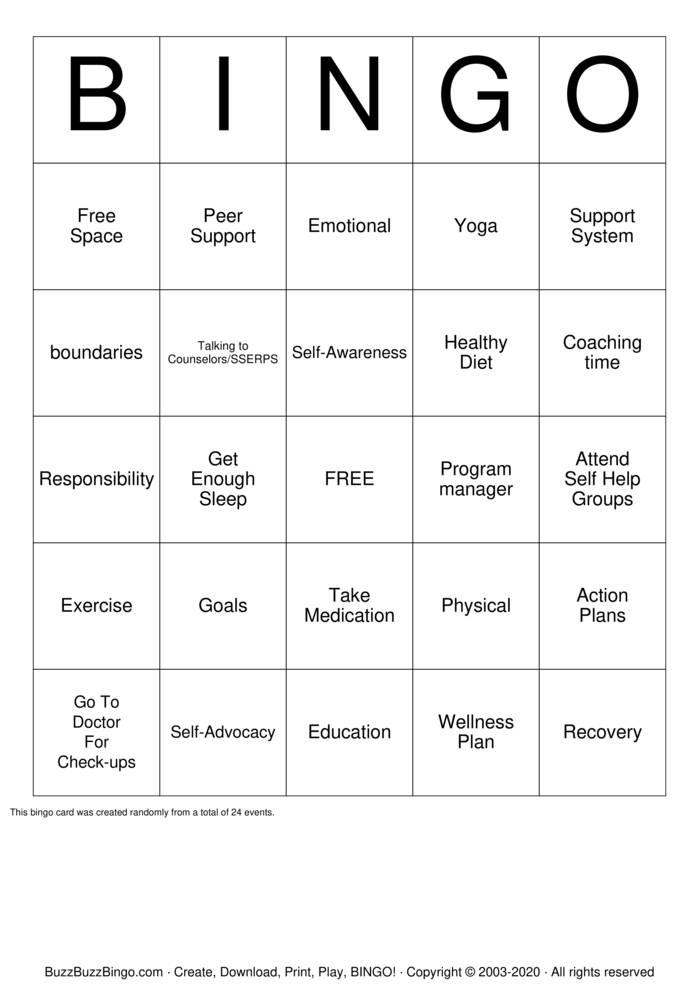 Download Free self advocacy BINGO  Bingo Cards