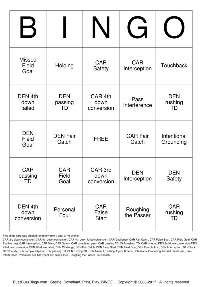 Download Free 2016 Superbowl CAR vs DEN Bingo Cards