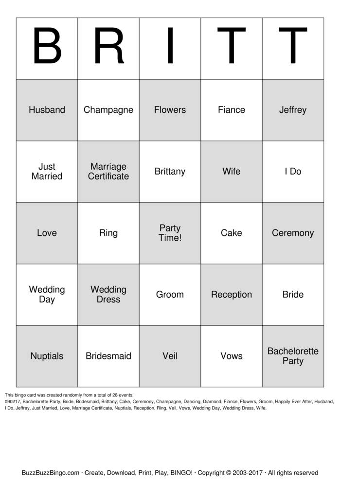Download Brittany's Bridal Shower Bingo Cards