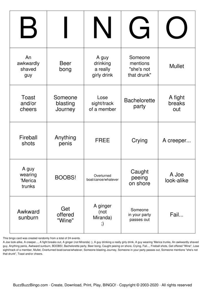 Download Free DRunk Bingo Cards