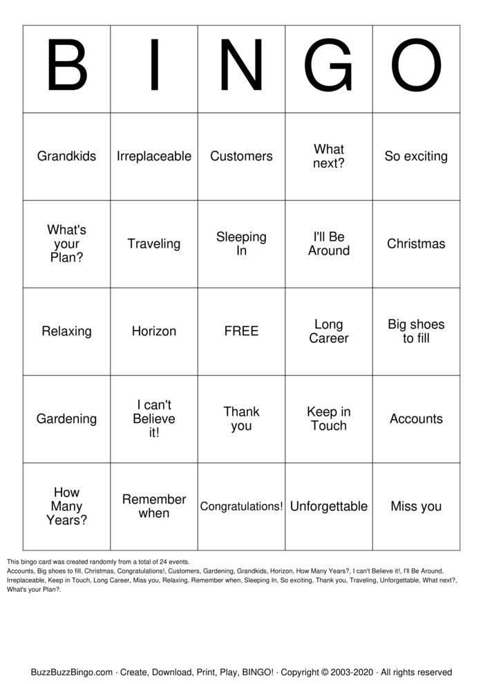 Download Free Dorothy's Retirement Bingo Bingo Cards