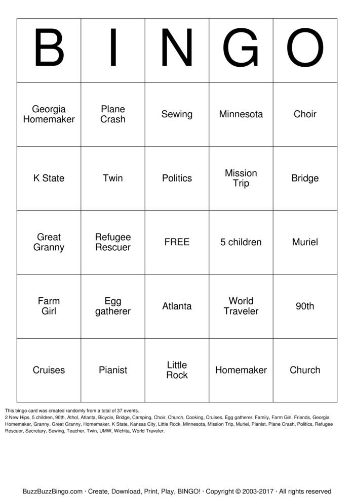 Download Free Elaine's 90th Birthday Bingo Cards
