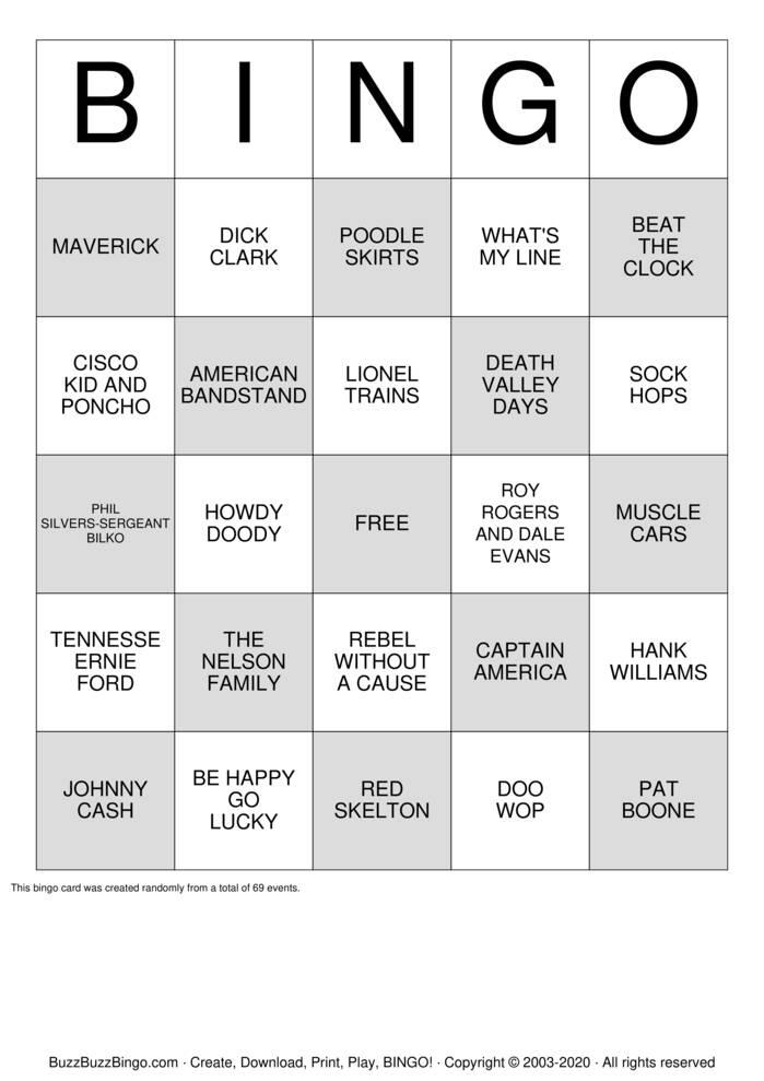 Download Free FABULOUS 50s Bingo Cards