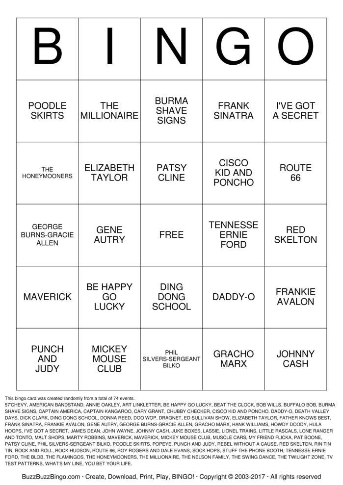 Download FABULOUS 50s Bingo Cards