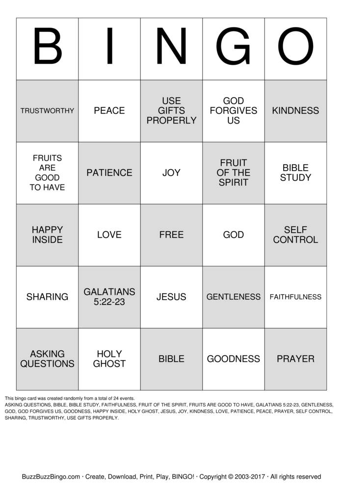 Fruit of the Spirit Bingo Card