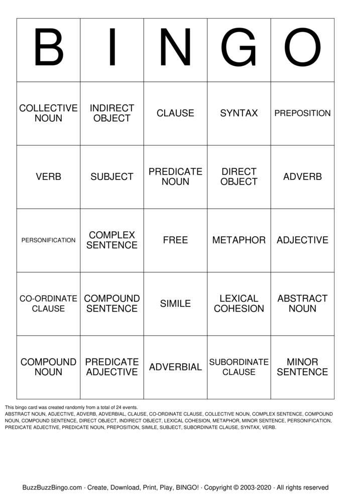 Download Free GRAMMAR Bingo Cards