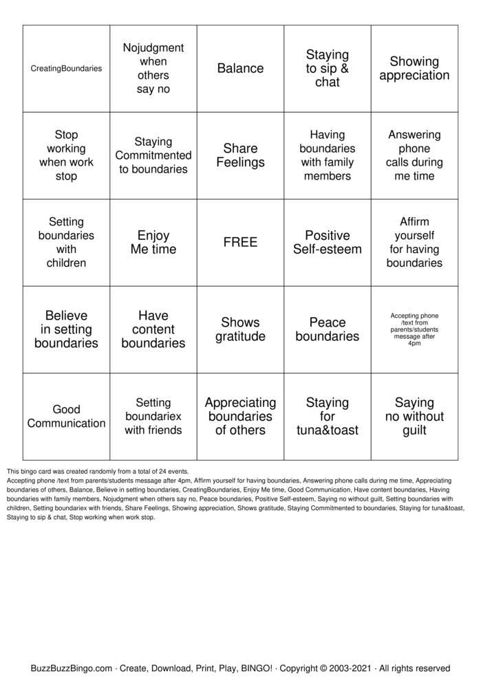 Download Free Healthy boundaries Bingo Cards