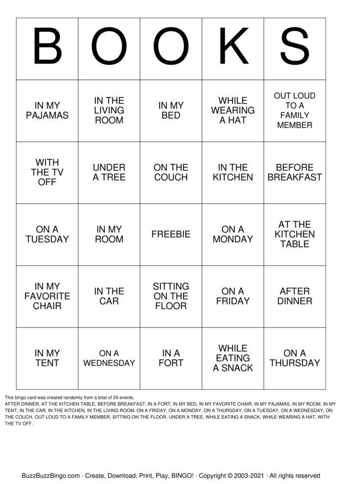 Download Free I LOVE BOOKS Bingo Cards